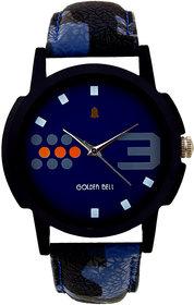 Golden Bell Round Dail Blue Leather Men Analog Watch