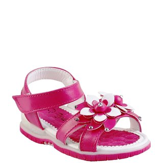 Small Toes Synthetic Pink Comfortable latest stylish Embroidery Sandal For Baby Girls
