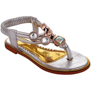 Small Toes Synthetic Leather Silver Comfortable latest stylish Embroidery Sandal For Baby Girls