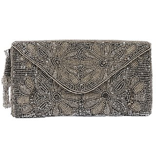 Handcrafted Silver Self Design Casual Clutch