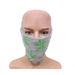 Gray With Floral Design Fashion Biker Face Mask JSMFHFM0535N