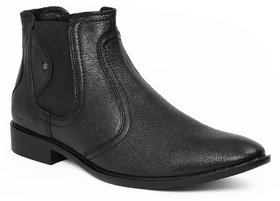 Red Chief Black Men Ankle Boot Formal Leather Shoes (RC1348A 001)