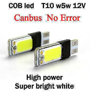2 X WHITE T10 CAR  BIKE COB LED PAIR W5W PARKING LICENCE PLATE ROOF LED