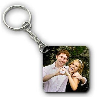 Personalized Photo Keychain Wooden Square