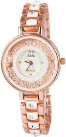 Addic Crystal Studded White Strap Wristwatch for Women