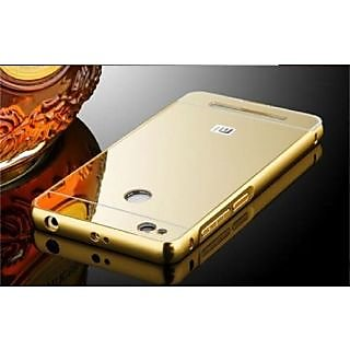 newest b04af 889a4 Redmi 3S Prime Luxury Metal Bumper Acrylic Mirror Back Case Cover-Gold