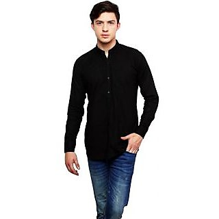 Dennis Lingo Men's Solid Casual Black Shirt