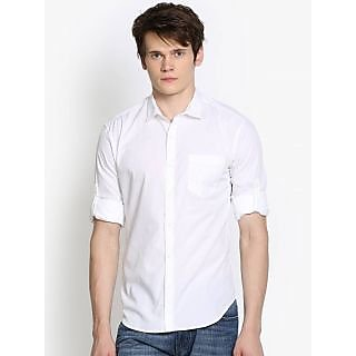 Men's Solid Casual White Shirt