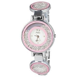 Addic Rolling Diamonds Pink Dial Silver Strap Wristwatch for Women