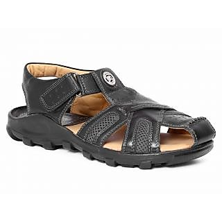 Red Chief Black Men Casual Leather Velcro Sandal (RC0317 045)
