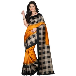Meia Yellow  Art Silk  Checks Saree With Blouse