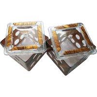 Gold Dust Dry fruit serving Bowl Plastic Decorative Platter (Silver, Pack of 2)