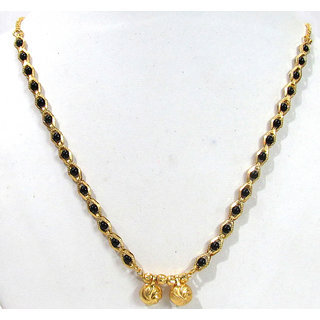 Shree Mauli Creation Gold Plated Black  Gold Alloy Only Mangalsutra for Women