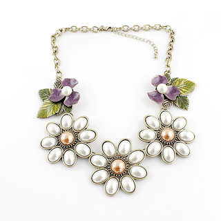Fayon Contemporary Statement White Pearl Flowers Pendant Necklace