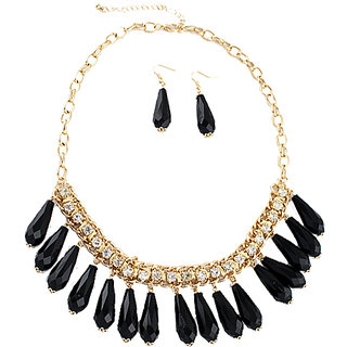 Fayon Party Style Diva Black Drops And Gold Chain Link Necklace