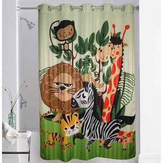 Lushomes Digitally Printed Kids Design Shower Curtain with 10 Eyelets