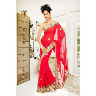 Shopaholic Red Plain Kota Saree With Blouse