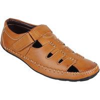Peter John Leather's Men Tan Velcro Sandals - 101540669