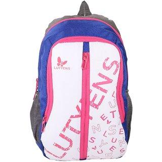 Lutyens White Blue 20Litres Polyester School Bags (Lutyens_123)