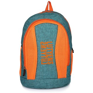 Lutyens Blue Orange Khadi Fabric School Bags (26 Liters)