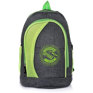 Lutyens Black Green Khadi Fabric School Bags (26 Liters)