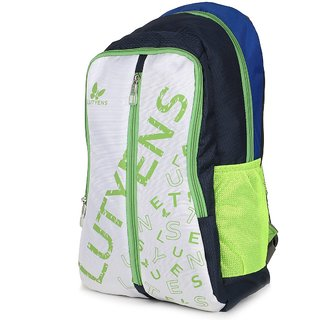 Lutyens Navy Blue White Green Casual School Bags (22 Liters)