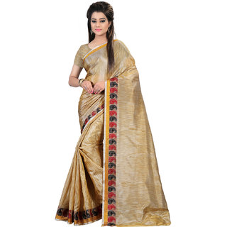 Glory sarees Beige Chanderi Self Design Saree With Blouse