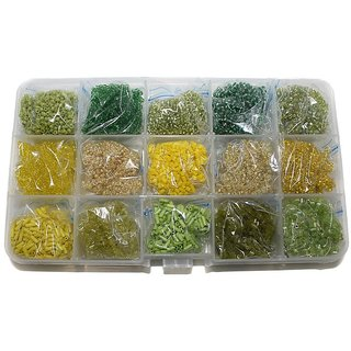 Beadsnfashion Jewellery Making Seed Beads Combination Of Green  Yellow DIY Kit (15 Colors)