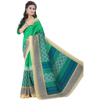 Glory sarees Multicolor Art Silk Printed Saree With Blouse
