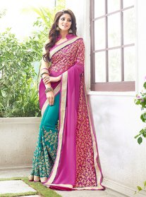 CRAZYDDEAL Blue  Pink Georgette Embroidered Saree With Blouse