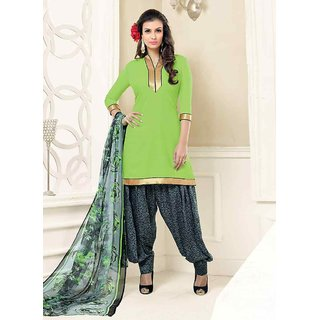 Swaron Unique Green and Grey Poly Crepe Plain and Printed Casual Wear Dress Material 471D14006