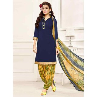 Swaron Pretty Navy Blue and Yellow Poly Crepe Plain and Printed Casual Wear Dress Material 471D14011