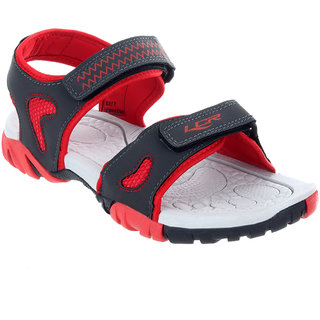 Lancer Mens Gray & Red Velcro Sandals