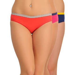 Clovia Multicolor Solid Panties (Pack Of 3)