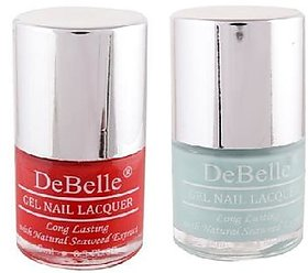 DeBelle Gel Nail Lacquer 8 ml each Combo of 2 (French Affair  Mint Amour) (Red  Mint Blue)