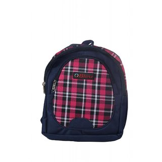 Bleu Elegant Red Check & Blue Self Check School Bag (Small, 14 Inches)
