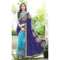 CRAZYDDEAL Blue Georgette Embroidered Saree With Blouse