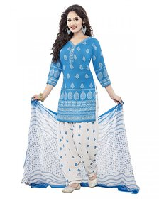 Drapes Women's Blue crepe printed Dress Material (unstitched) DF1536
