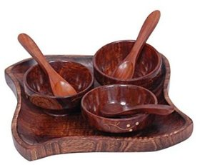Desi Karigar Wooden kitchen ware Dry Fruits Tray  Snacks With 3 Bowl  3 Spoon.