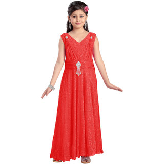Aarika Girls Self Design Imported Net Gown