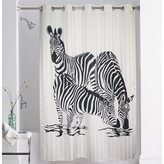 Lushomes Digitally Printed Zebra Shower Curtain with 10 Eyelets