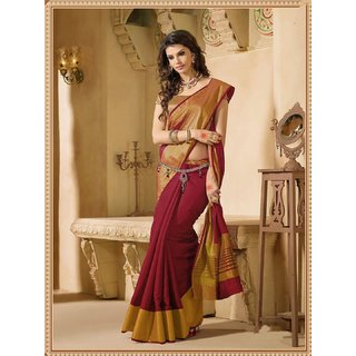 Indian Beauty Maroon Art Silk Geometric Saree With Blouse