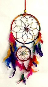 Set of 2-Multicolor Dream Catcher Wall Hanging Wool Windchime (12 inch, Multicolor)