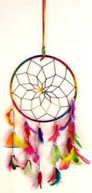 only4you Dream Catcher Wall Hanging Wool Windchime  (16 inch, Multicolor)