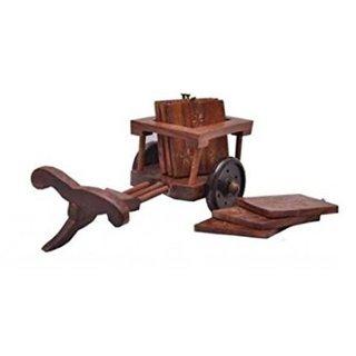 Desi Karigar Wooden Tea Coffee Coaster Set CART shape Office Home decor Dining accessory