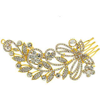 Anuradha Art Golden Colour Floral Shimmering Classy Hair Accessories