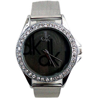 Dk Silver Black Dial Analogue Watch for Girls and Women By 7Star