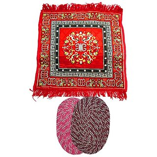 awesame (1 Pooja Asan Mat + 2 Door Mat)