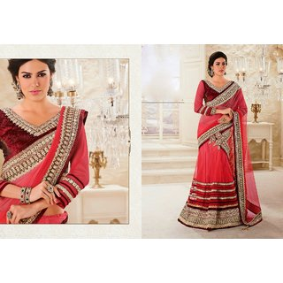 The Pretty Threads Multicolor Brocade Self Design Saree With Blouse