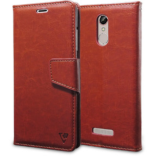 Ceego Luxuria Wallet Flip Cover for Gionee S6s - Ultra Compact with Credit Card Slots  Wallet - Classic Business Style Gionee S6 S Flip Case (Walnut Brown)